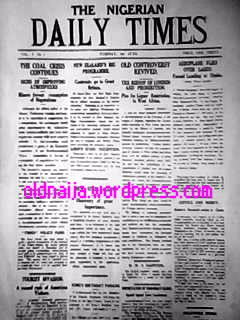 facsimile of daily times reporting the plane that first flew over Lagos