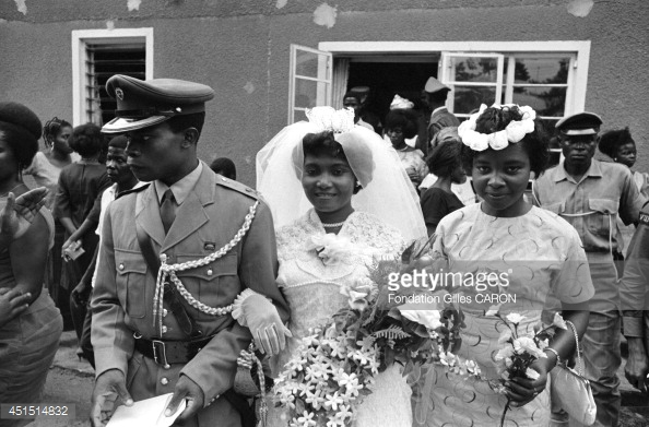 NIGERIA - 1968: Wedding of an officer of the Ibo ethnic group during the Biafra war in 1968 in Nigeria.