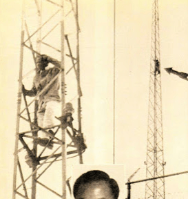 Ajala protesting on a tower